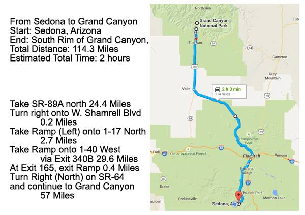Map Of Arizona And Grand Canyon.Sedona Grand Canyon Day Trip Visit Sedona